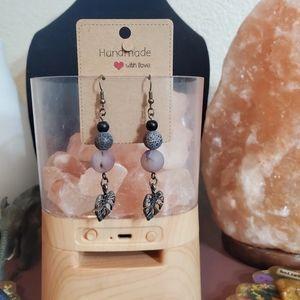 Handmade Purple agate stone beaded earrings